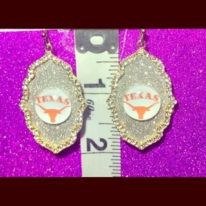 Texas Longhorns Gold Rhinestone Glitter Earrings
